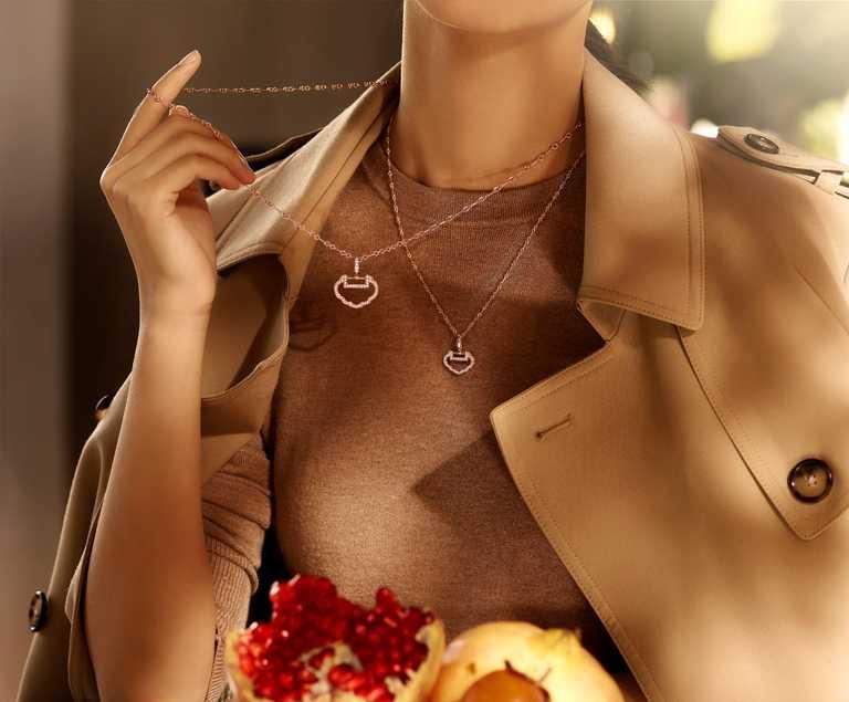 Qeelin「Yu Yi」系列玫瑰金鑽石吊墜,中型款╱143,500元;小型款╱63,500元。(圖╱Qeelin提供)