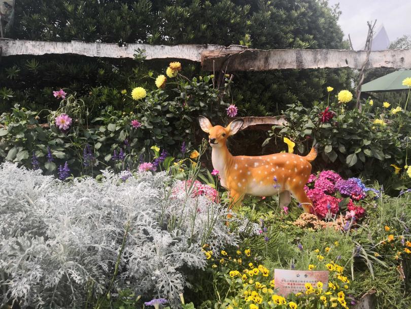 園區志工布置的花藝造景作品亦很吸引人。