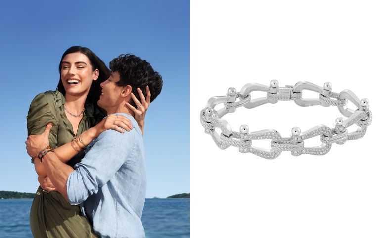 從編織鏈繩及黃金鏈扣,或是將鉤環綴滿閃耀鑽飾,展現截然不同的活力面貌。FRED Force 10 系列多鍊釦白金鑽石鑲嵌手鍊/1,309,900元(圖/品牌提供)