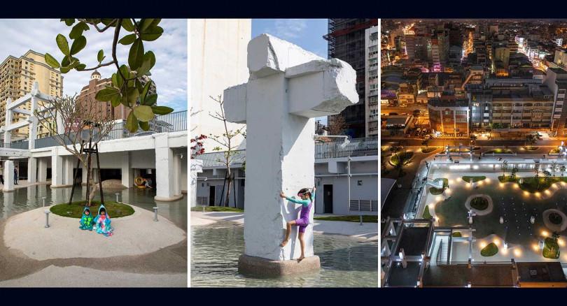 廣場保留中國城牌樓及骨架殘跡,增加植栽綠蔭,並規劃蒐集天然雨水循環再利用系統。