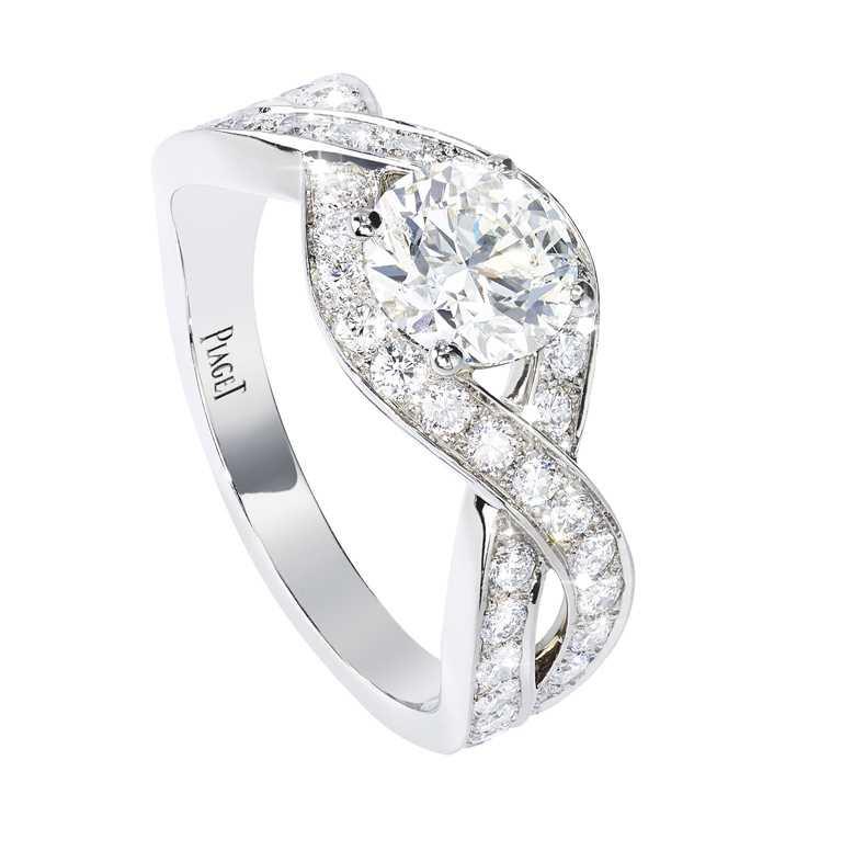 PIAGET「Jardin Secret」鉑金單鑽戒指╱690,000元。(圖╱PIAGET提供)