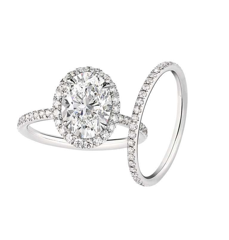 HARRY WINSTON「The One系列」橢圓型切工鑽石婚戒╱價格店洽。(圖╱HARRY WINSTON提供)