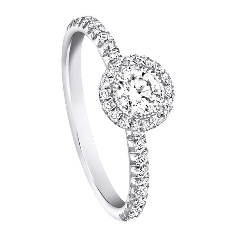 PIAGET「Passion系列」鉑金單鑽戒指╱158,000元。(圖╱PIAGET提供)