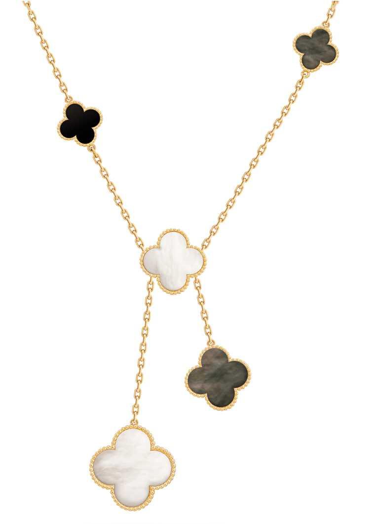 Van Cleef & Arpels「Magic Alhambra系列」黃K金灰色珍珠母貝及縞瑪瑙項鍊,6枚墜飾╱287,000元。(圖╱Van Cleef & Arpels提供)