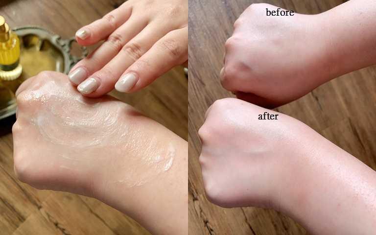 將保濕光萃油+身體保濕潤膚霜混合後,記得要在掌心溫熱後才塗抹,滲透速度、吸收速度都會直接開turbo,擦完後的膚質太驚人的明亮細緻!(圖/吳雅鈴攝影)