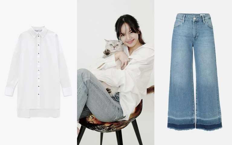 喜歡Lisa的造型妳可以這樣搭>>ZARA寬鬆版襯衫/990元、glimmer boutique牛仔褲/9,280元(圖/翻攝Lisa IG、品牌提供)