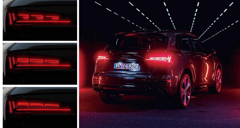 包括開啟Dynamic動態模式時的亮燈型式,Q5的OLED尾燈組共有四種不同的光源顯示燈組,每一種燈組還具備「離家」、「返家」亮燈模式。(圖/台灣奧迪提供)