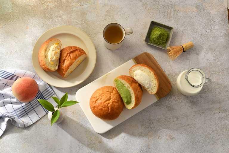 「冰心奶油哈哈包」共有原味、抹茶與水蜜桃三種口味。