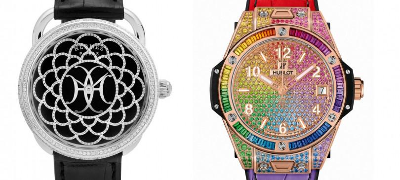 HERMÈS/Arceau H Déco(左);HUBLOT/Big Bang One Click Rainbow。(圖/GPHG提供)