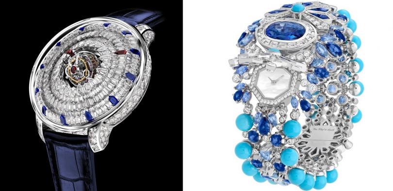 JACOB&CO/The Mystery Tourbillon(左);VAN CLEEF & ARPELS/Jardin de Glace Secret watch。(圖/GPHG提供)