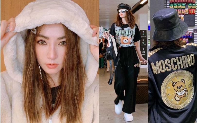 毛毛外套是謝金燕今年冬季一定要有的單品,熊熊圖案的T恤及外套今年也是她的時尚首選。(圖/翻攝自謝金燕IG)