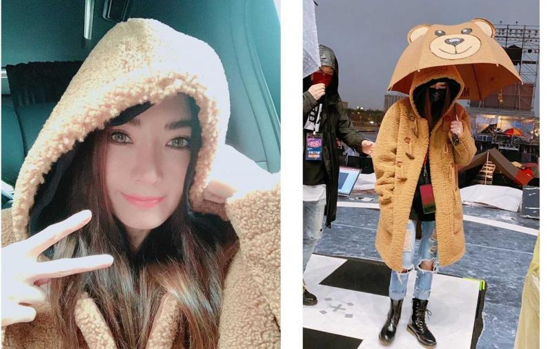 姐姐謝金燕在跨年彩排現場撐了熊熊立體造型雨傘,超級可愛!(圖/翻攝自謝金燕IG)