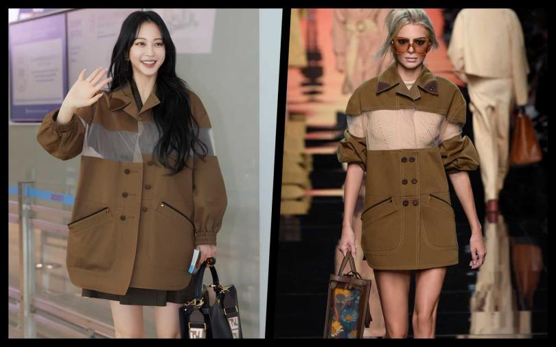 韓藝瑟身穿FENDI春夏20系列網紗雙排扣棕色外套/92,000元。(圖/品牌提供、韓藝瑟ig)