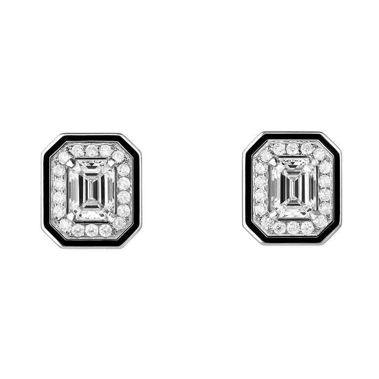 BOUCHERON「LISERÉ」系列珠寶,白金鑲鑽耳環╱371,000元。(圖╱BOUCHERON提供)