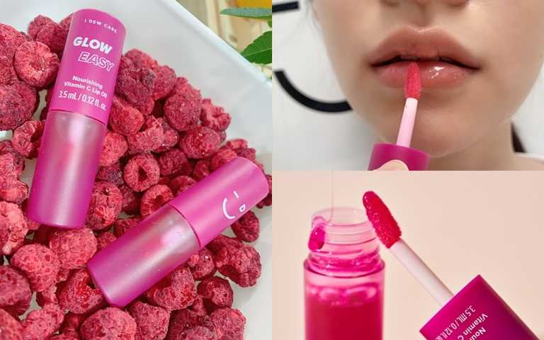 I Dew Care覆盆莓C美唇油 3.5ml/490元  肉眼可見的紫紅色是萃取自天然覆盆子,不會傷害雙唇肌膚。(圖/吳雅鈴攝影、品牌提供)