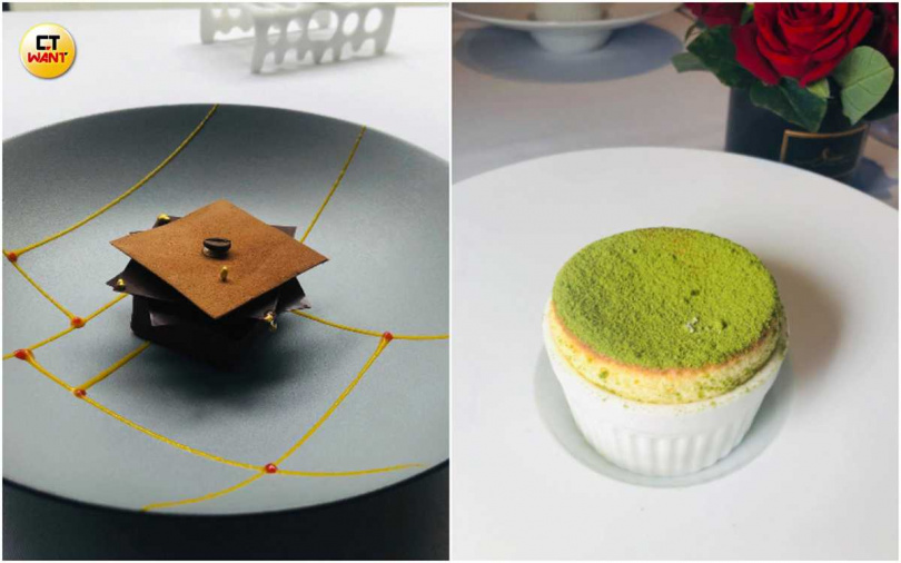 左起為創意提拉米蘇、日式抹茶柚子舒芙蕾。(圖/余玫鈴攝)