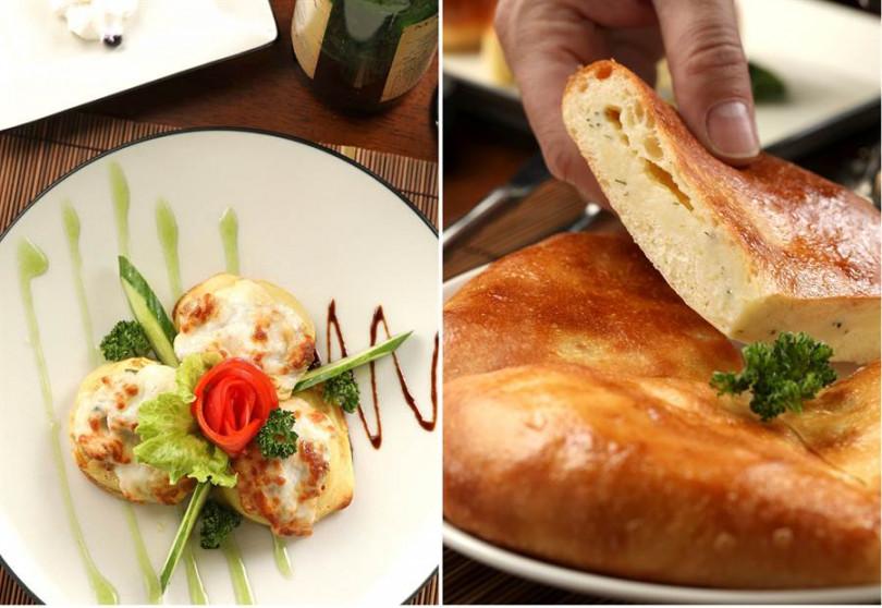 ▲左:「雞肉奶油蘑菇布林餅」口口香嫩!(250元)。右:「奧塞梯亞馬鈴薯起司餡餅」斷面秀色香味誘人!(3~4人份250元)(攝影/于魯光)