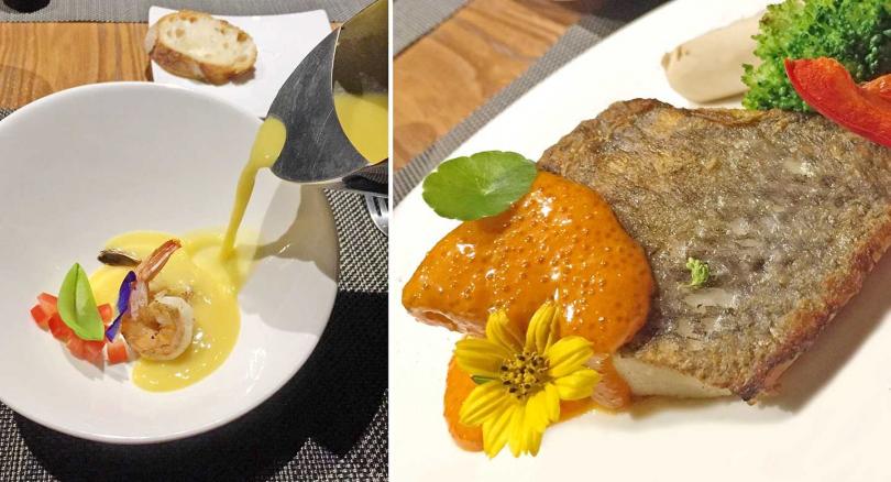 「松邑莊園」主廚套餐,今日主餐「乾煎白油魚配奶油海膽汁」和前菜奶醬鮮蝦。(晚餐2,000元、午餐1,600元)(攝影/楊麗雯)