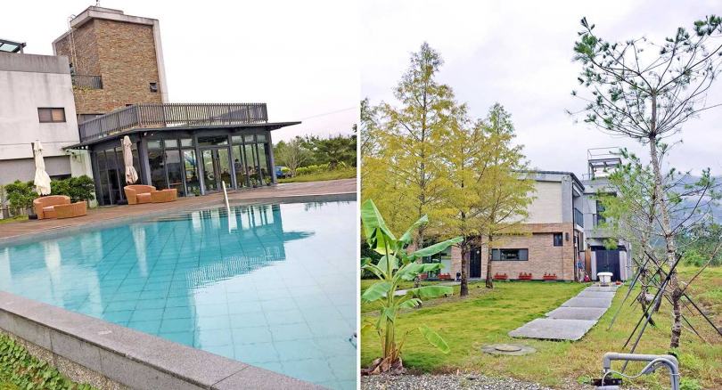 「松邑莊園」冷泉泳池。和隔壁「穗一晚」都造景廣闊優美。(攝影/楊麗雯)