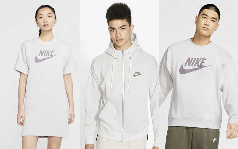NIKE REVIVAL服飾系列秉持著裁切再利用、再生材料製成、原色材料打造圖案,將服裝設計與永續材料融為一體。(圖/Nike)