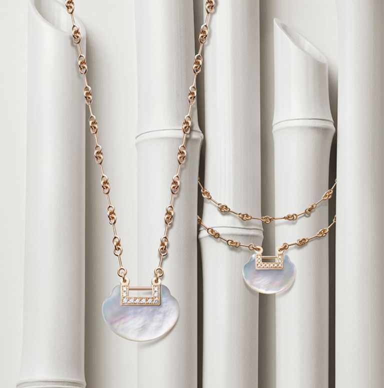 Qeelin「Yu Yi系列」珍珠母貝作品:(左)18K玫瑰金鑲鑽珍珠母貝中型項鍊╱156,000元;(右)18K玫瑰金鑲鑽珍珠母貝雙鍊手鍊╱92,500元。(圖╱Qeelin提供)