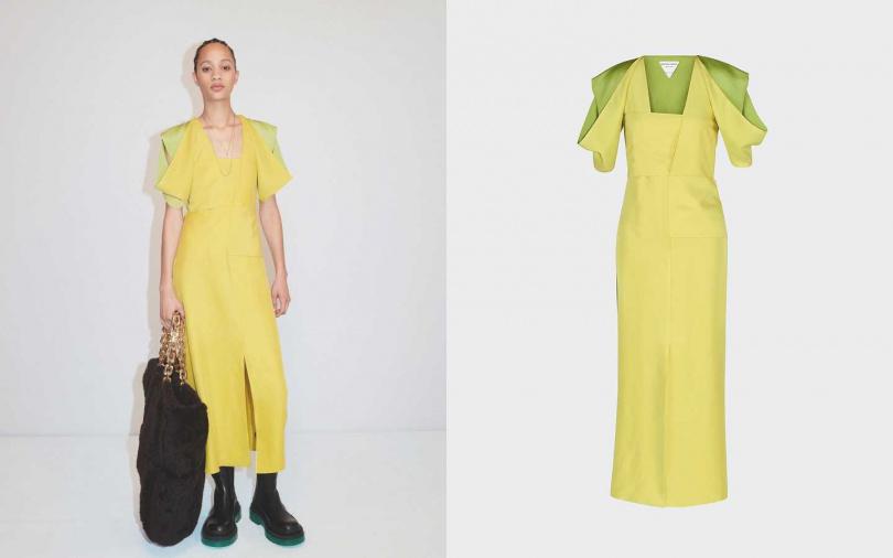 垂墜肩部剪裁,讓內襯的色調與檸檬黃做出層次。BOTTEGA VENETA 肩部剪裁洋裝/約100,450元(圖/品牌提供)