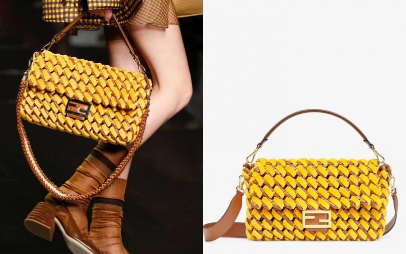 以珍貴貂皮與納帕小牛皮編織,打造出手感柔軟的經典包款。FENDI 大型Baguette手袋/約264,450元(圖/品牌提供)