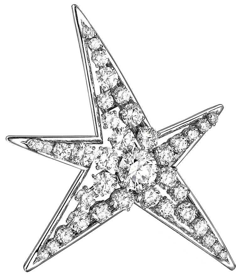 CHANEL「1932 Bijoux de Diamants」系列,COMÈTE胸針╱鉑金,鑲嵌1顆重約3.15克拉F-VVS圓形切割鑽石,及37顆總重約12.50克拉圓形切割鑽石。(圖╱CHANEL提供)