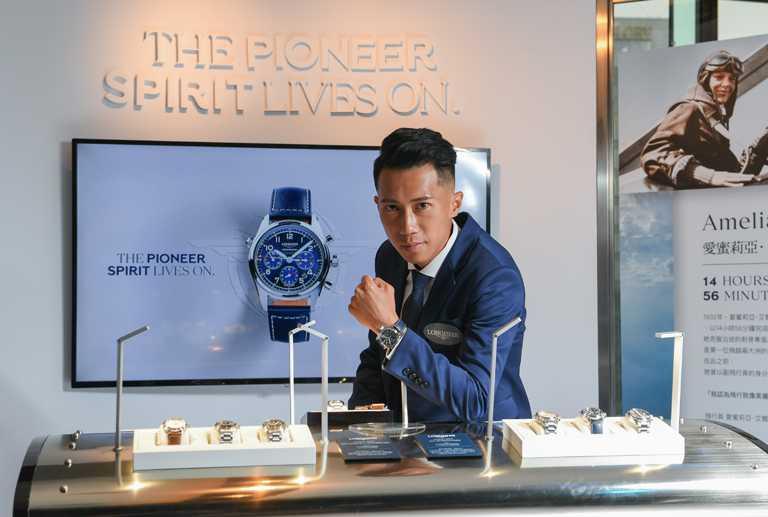 「極地遠征冠軍」陳彥博,出席LONGINES「Spirit先行者」系列腕錶發表會,手上佩戴藍色太陽紋面盤計時碼錶╱100,300元。(圖╱LONGINES提供)