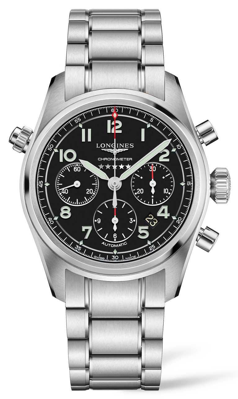 LONGINES「Spirit先行者」系列計時碼錶╱不鏽鋼錶殼、錶帶,啞光黑面盤款,42mm╱100,300元。(圖╱LONGINES提供)