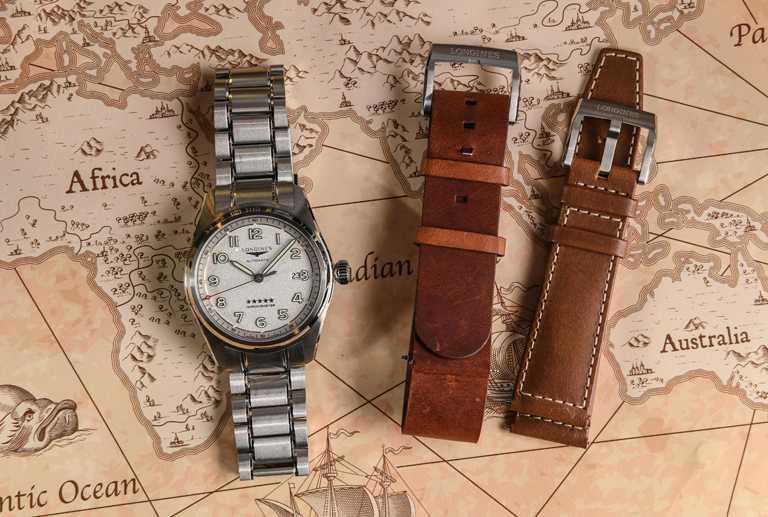 LONGINES「Spirit先行者」系列大三針含日期顯示腕錶,Prestige高階套裝版╱含3條可互換系統錶鏈、錶帶,磨砂霧銀面盤款,42mm╱93,400元。(圖╱LONGINES提供)