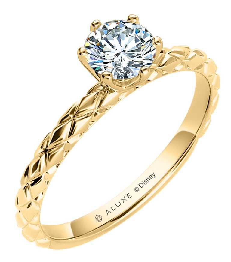 ALUXE「Hope Gleam魔髮奇緣」婚嫁系列,求婚鑽戒(戒台)╱22,800元。(圖╱ALUXE提供)