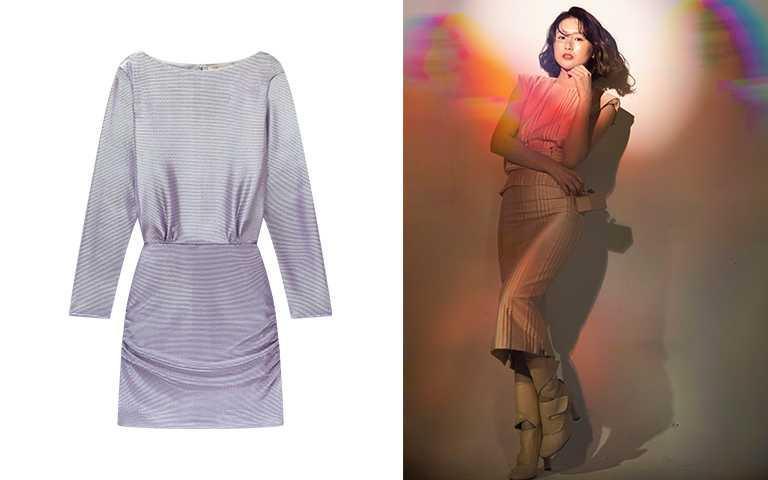 maje緞面連身洋裝/價格店洽,FENDI金屬光澤粉色洋裝、高筒粉色靴、Mini Box。(圖/莊立人攝,maje提供)