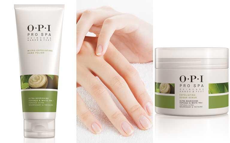 推薦可使用OPI的古布阿蘇手部去角質霜&古布阿蘇磨砂淨露,因為都有添加超級水果古布阿蘇、酪梨油、白茶萃取等,能夠幫助溫和去除老廢角質、促進肌膚新陳代謝。(圖/品牌提供)