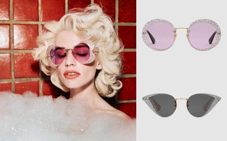 GUCCI Hollywood Forever 水晶心型太陽眼鏡╱39,100元、水晶圓框太陽眼鏡╱39,100元、水晶貓眼太陽眼鏡╱39,100元(圖╱品牌提供)