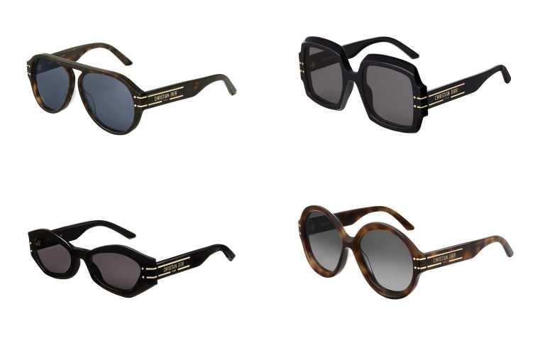 Dior Signature A1U 棕色玳瑁飛行員藍色鏡片墨鏡╱16,400元、S1U 黑色方框灰色鏡片墨鏡╱16,400元、B1U 黑色蝴蝶框灰色鏡片墨鏡╱16,400元、R1U 棕色玳瑁圓框灰色鏡片墨鏡╱16,400元(圖╱品牌提供)