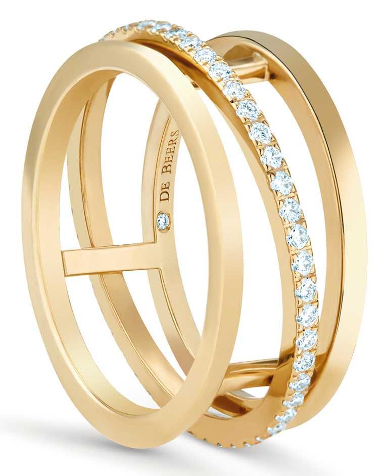DE BEERS「Horizon」系列,18K黃金鑽石戒指╱113,000元。(圖╱DE BEERS提供)