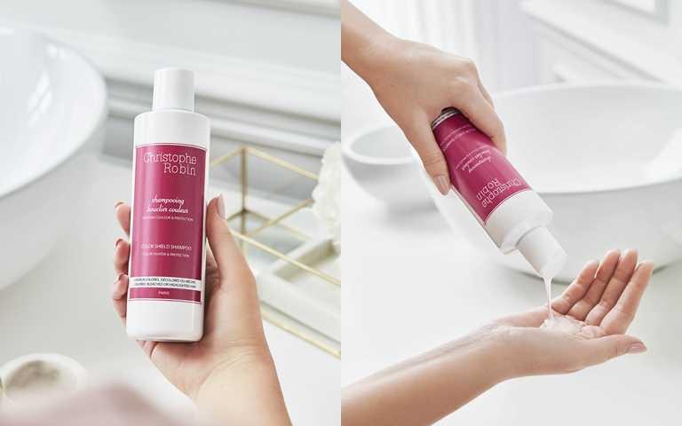 Christophe Robin抗氧化護色洗髮精 250ml/1,180元 不同於一般洗髮製品,在過程中不會洗去髮中色料,仍可保有色彩的飽和與光澤。(圖/品牌提供)