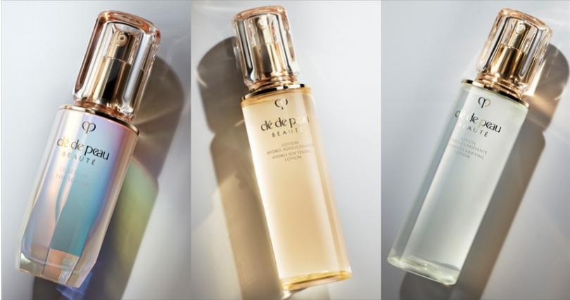 左:「精萃光采激光晶露」,開啟肌膚的第一步30ml/NT5,400。中:「精萃光采柔潤保濕露」和右:「精萃光采淨透保濕露」,獨特糖衍生保濕因子,增加肌膚的柔軟性。170ml/NT3,800。(圖/品牌提供)