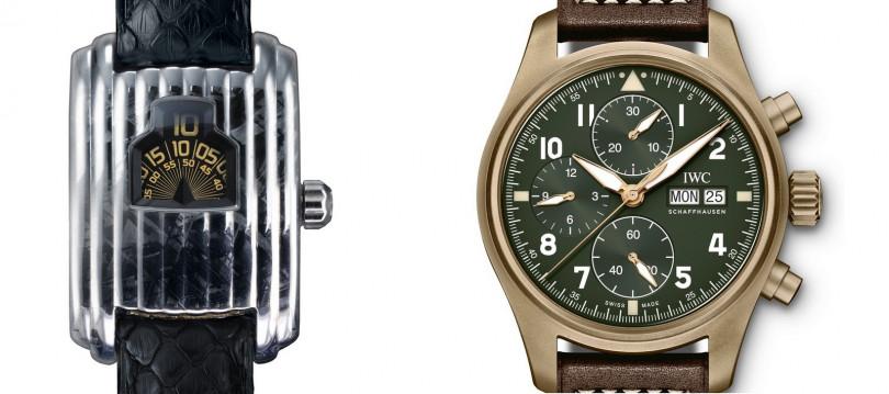 DAVID RUTTEN METEORITE WATCHES/Streamline(左);IWC/Pilot's Watch Chronograph Spitfire