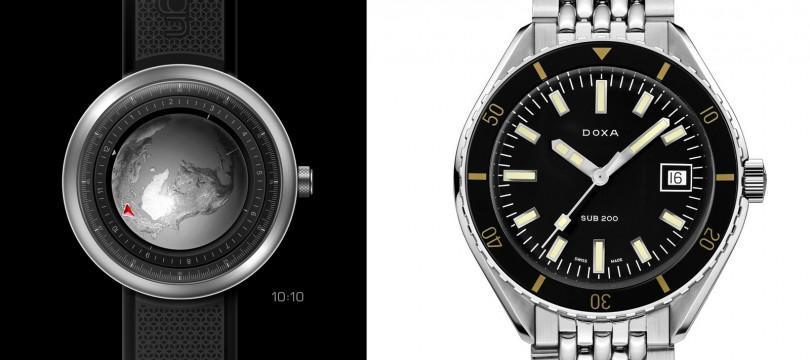CIGA DESIGN/Single-Hand Mechanical Wristwatch SeriesGlobe(左);DOXA/Doxa SUB 200