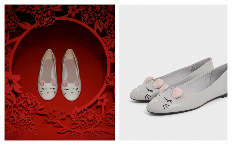 CHARLES & KEITH立體老鼠平底鞋(白、灰)/1,590元。(圖/品牌提供)