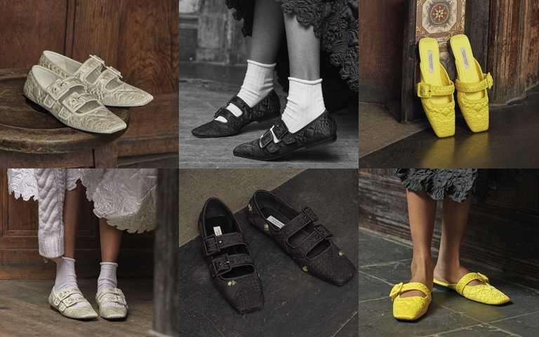 大理花衍縫環保緞面瑪莉珍鞋(白、黑) NT9,990、山茶花衍縫環保緞面穆勒鞋(黃) NT8,290、銀蓮花再生拼布瑪莉珍鞋(黑) NT11,590(圖/Charles & Keith)