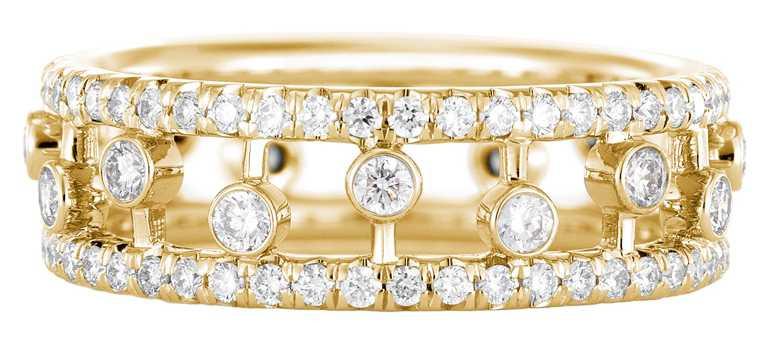 DE BEERS「Dewdrop」系列,18K黃金鑽石戒指╱146,000元。(圖╱DE BEERS提供)