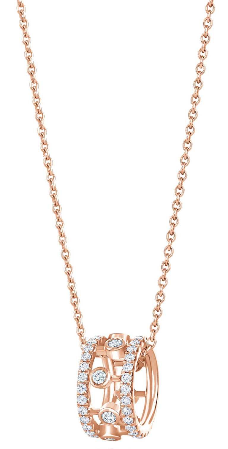 DE BEERS「Dewdrop」系列,18K玫瑰金鑽石吊墜項鍊╱110,000元。(圖╱DE BEERS提供)