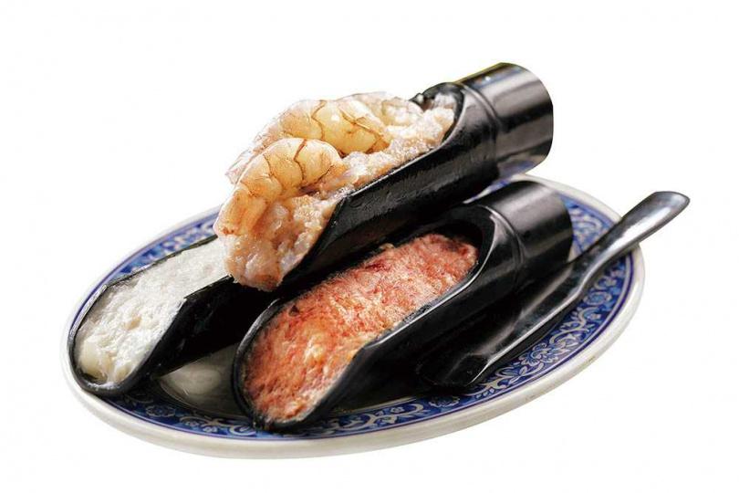「鮮滑三拼」脆度跟黏度都超棒,鮮蝦滑更直接放上3隻蝦,相當鮮甜。(588元)(圖/于魯光攝)
