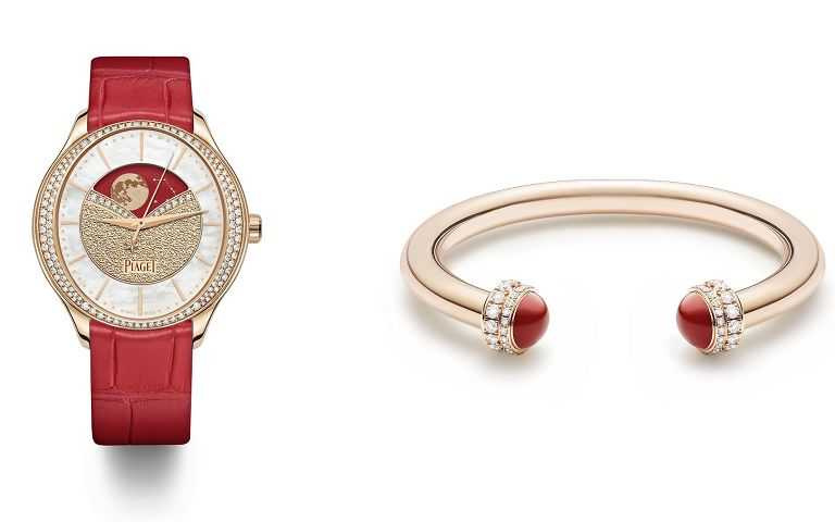 PIAGET Possession系列18K玫瑰金紅玉髓鑲鑽手鐲、18K玫瑰金鑲鑽自動上鍊腕錶。