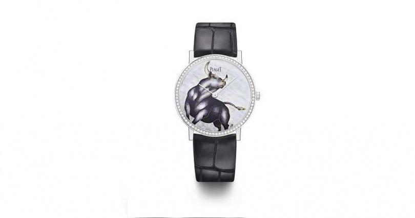 PIAGET Altiplano系列牛年生肖掐絲琺瑯工藝錶盤超薄手動上鍊腕錶。