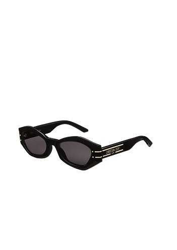 Dior Signature B1U 黑色蝴蝶框灰色鏡片墨鏡。