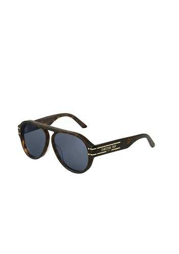 Dior Signature A1U 棕色玳瑁飛行員藍色鏡片墨鏡。